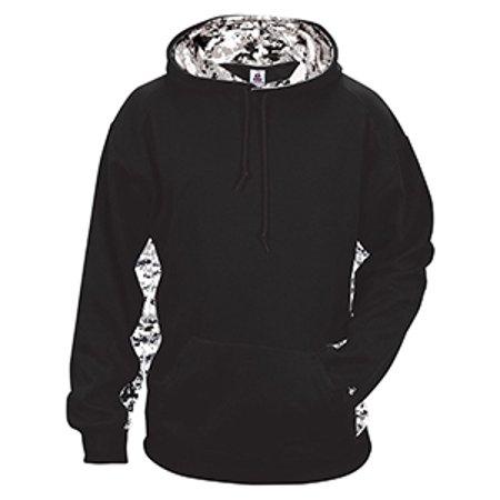 Badger Hooded Sweatshirt (Badger Adult Digital Colorblock Hooded Fleece - BLACK/ WHTE DIGI - S 1464 )