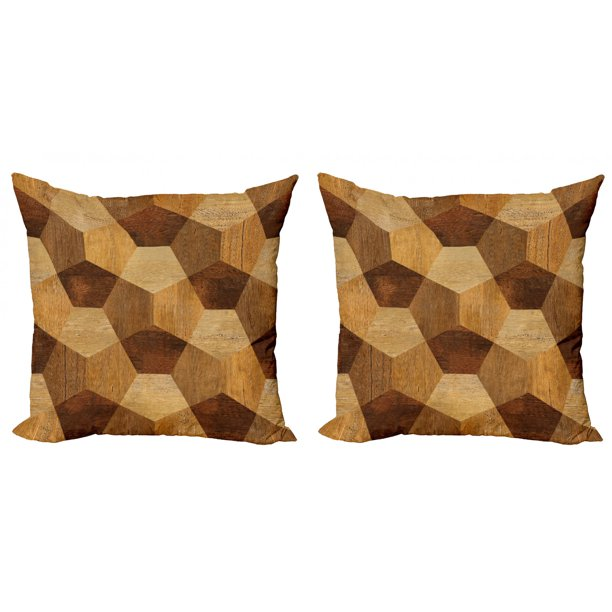 Retro Throw Pillow Cushion Cover Pack Of 2 Abstract Parquet Flooring Wooden Rustic With Geometric Monochrome Pattern Zippered Double Side Digital Print 4 Sizes Brown Pale Brown By Ambesonne Walmart Com Walmart Com