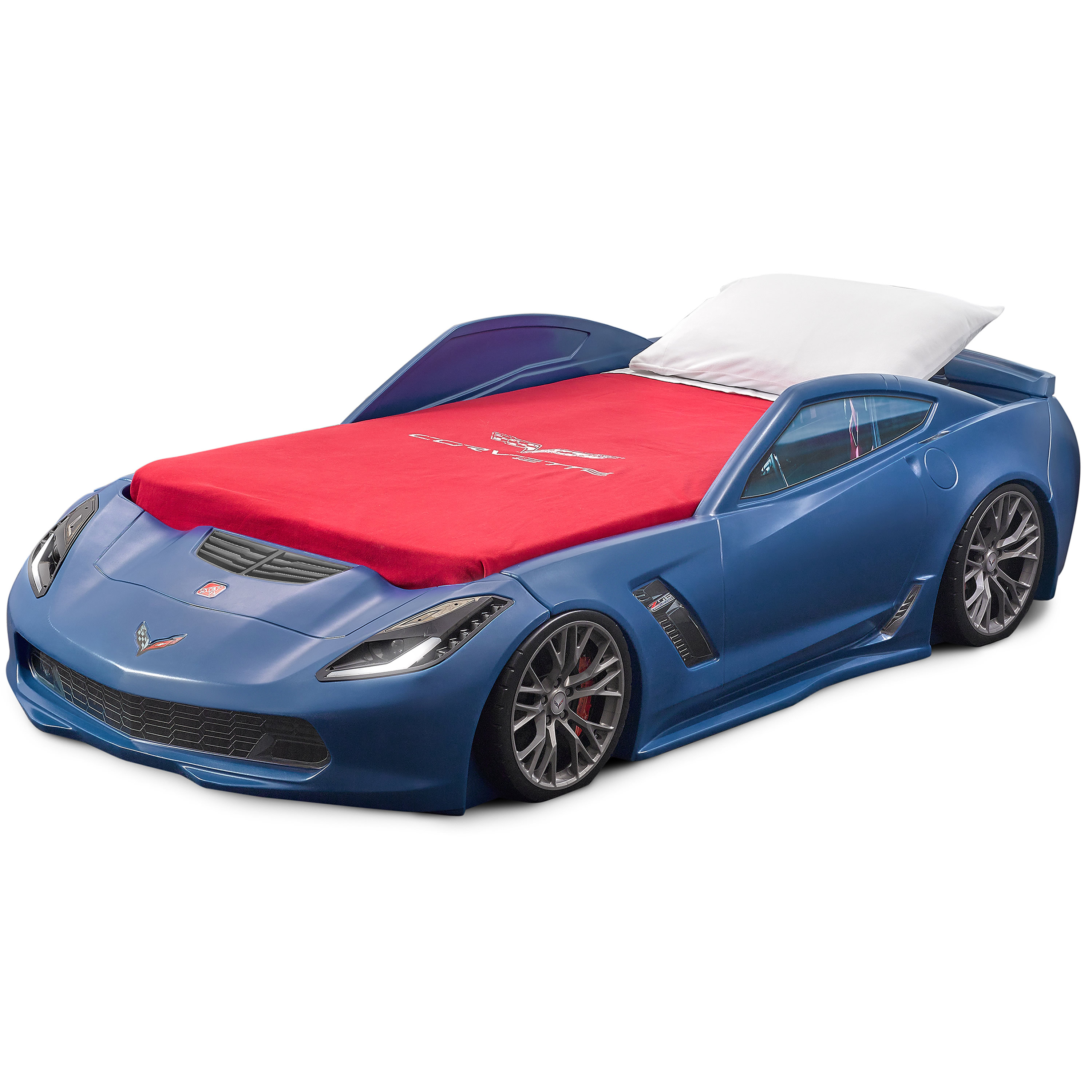 Step2 Corvette z06 Convertible Toddler to Twin Bed with Lights, Blue by Step2