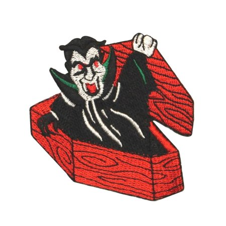 ID 0888 Vampire In Coffin Patch Halloween Dracula Embroidered Iron On -