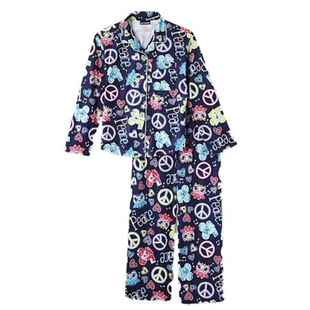 Joe Boxer Girls Blue Flannel Sleepwear Set Peace & Love Owl Pajamas  PJs