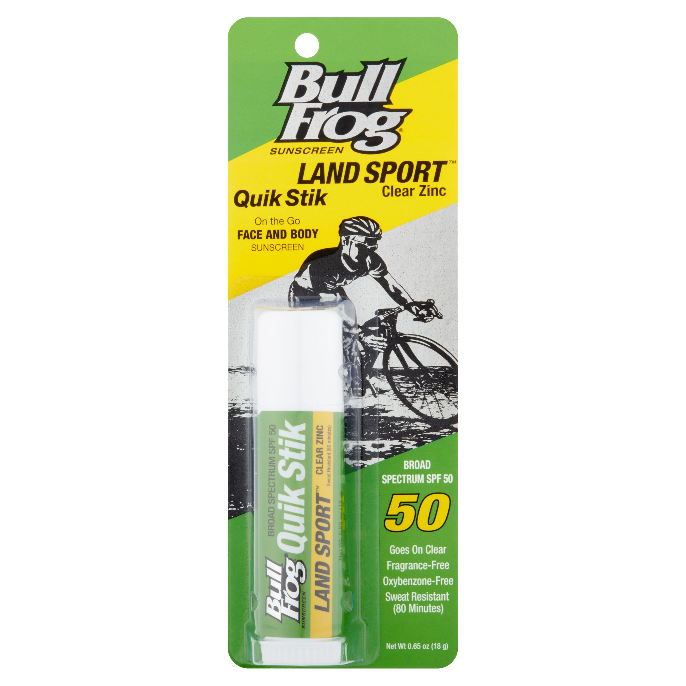 Bull Frog Land Sport Quik Stik On the Go Face and Body Sunscreen Broad Spectrum SPF 50, 0.65 oz
