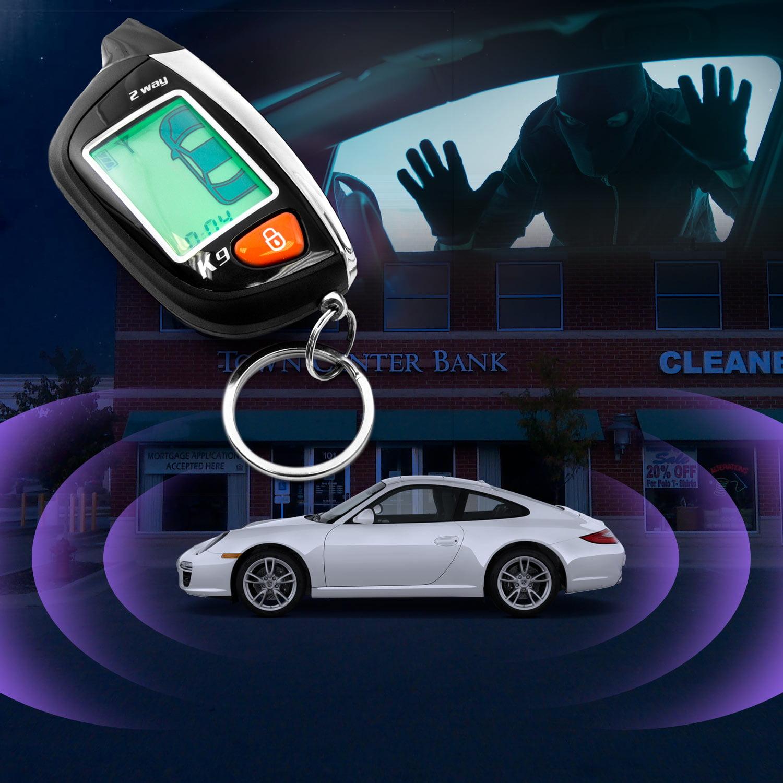 2-Way Car Alarm Security Alarm with LCD Status Display and Remote Engine Start for Chevy Camaro Van Cavalier Chevette Cobalt Kodiak - image 3 de 5