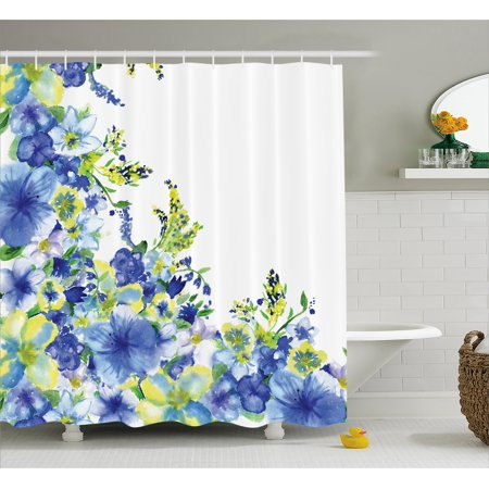 Watercolor Flower Shower Curtain, Motley Floret Motifs with Splash Anemone Iris Revival of Nature Theme, Fabric Bathroom Set with Hooks, Blue Yellow, by Ambesonne