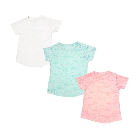 Tough Cookie's Kid's Unisex (Boys and Girls) Plain Burnout Crew Neck Tee Shirt 3 Pack Deal