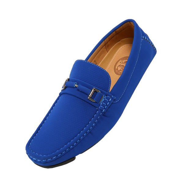 Amali Mens Perforated Nubuck Loafer Driving Shoe with Wrapped Buckle Style Downey Available in Red, Turquoise, and Royal