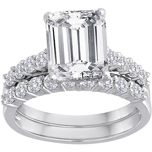 Pure Perfection Certified Bridal Ring with Emerald-Cut Center Stone Made with Swarovski Zirconia