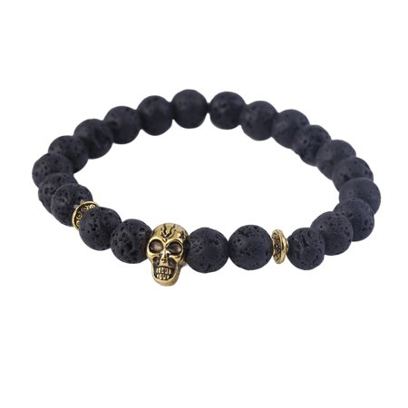 Skull Head Charm Bracelet Energy Volcano Stone Jewelry Natural Stone Buddha Beads Bracelets Gift For Men Woman