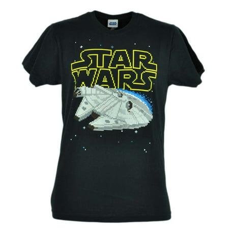 - Star Wars Movie Pixel Spaceship Black Mens Fifth Sun Eight Bid Tshirt Tee XLarge