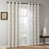 """Adele Sheer Ogee Jacquard Window Curtain Ivory 84"""" Panel, Classic ogee gets a modern make over with our Sheer Ogee Jacquard Panel. The ivory panel.., By Madison Park"""