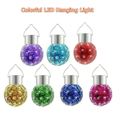 WALFRONT 1PC Colorful Solar Powered LED Hanging Light Waterproof Outdoor Yard Path Garden Decoration Lamp Sparkling Color Changing Landscape Decor Light ()