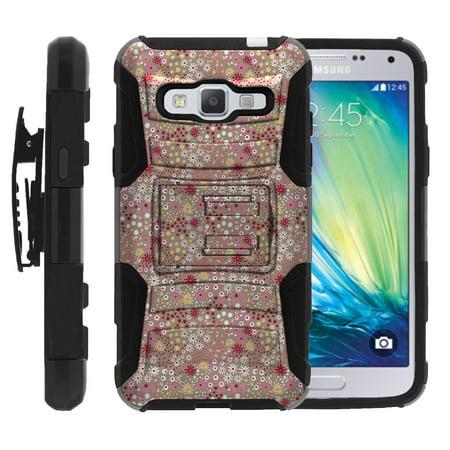 TurtleArmor ® | For Samsung Galaxy J3 | J3V | Express Prime | Amp Prime | Sol [Hyper Shock] Hybrid Dual Layer Armor Holster Belt Clip Case Kickstand - Field of Flowers ()