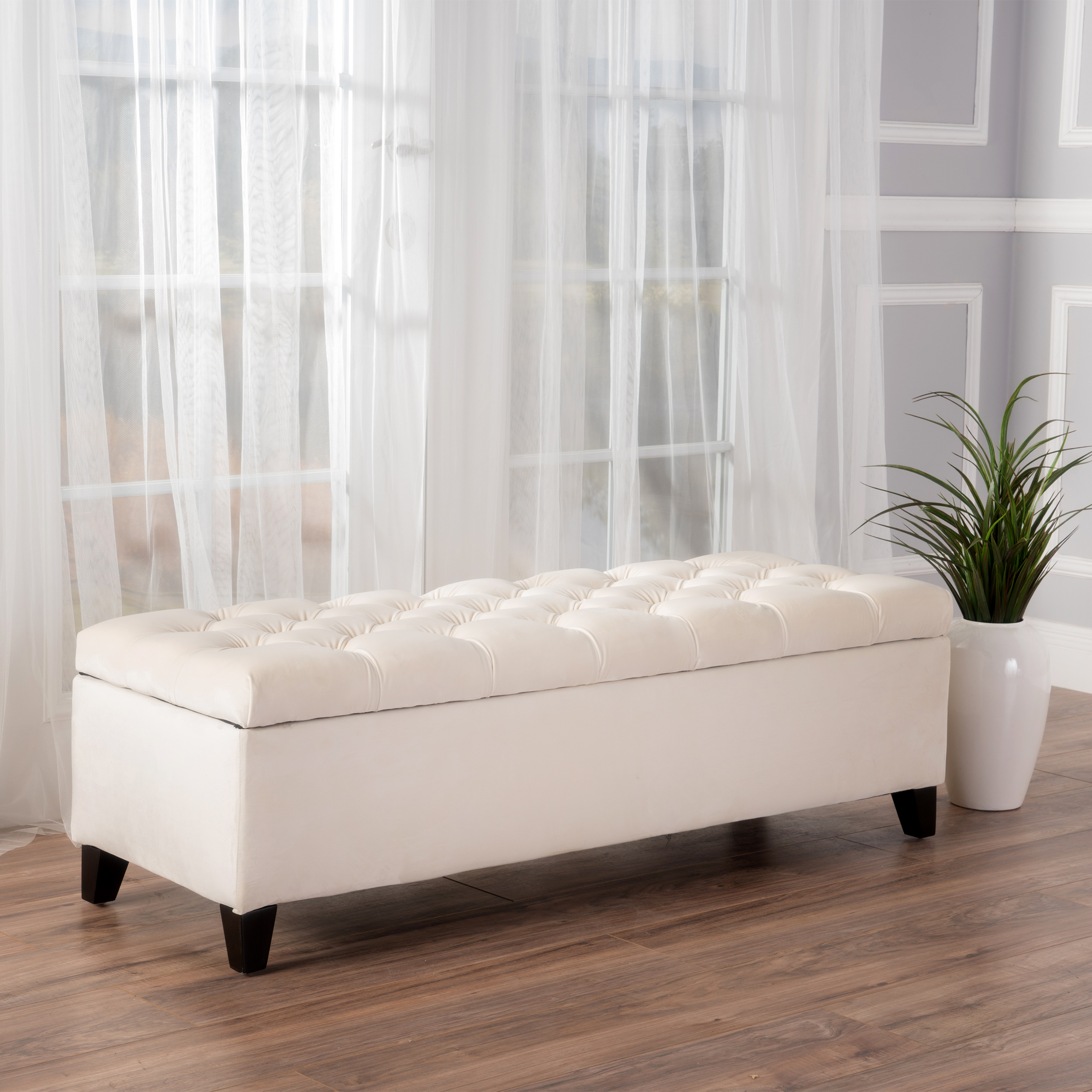 Noble House Oliver Ivory New Velvet Storage Ottoman