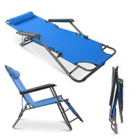 Portable Extendable Outdoor Folding Reclining Chair Dual Purposes Lounge Recliners Home Patio Beach Chair