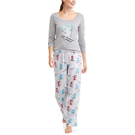 Family PJs Family Sleep Holiday Ski Dogs 2 Piece Pajama Sleep Set (Women's and Women's Plus) (Valentines Pjs)