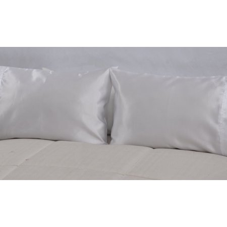 OctoRose Set of 2 Zipper Enclosure Super Strong and Durable Pillow Case / Protector / Cover / Pillowcase Silky Satin Less Wrinkle Smooth Feeling