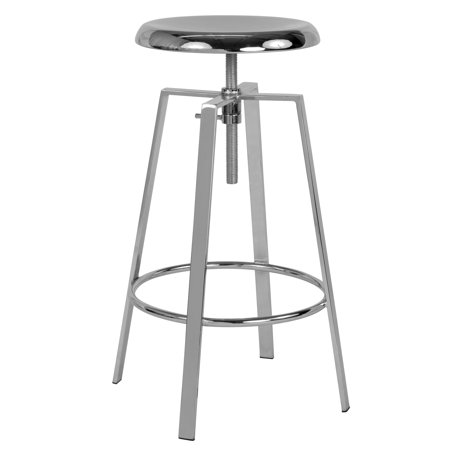 - Flash Furniture Toledo Industrial Style Barstool with Swivel Lift Adjustable Height Seat in Chrome Finish