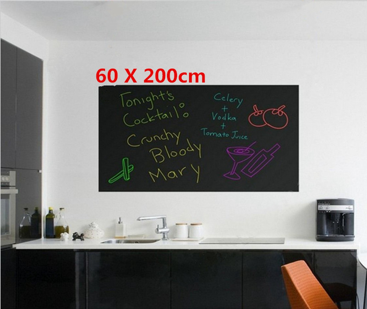 1Pcs 200CMX60CM Blackboard Sticker Self-Adhesive Wall Sticker Wall Paper Chalkboard Contact Paper For School ... by