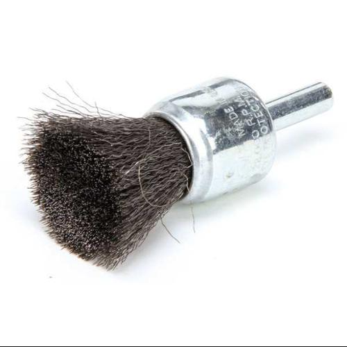 WEILER 10005 Crimped Wire End Brush, Steel, 3/4 In.