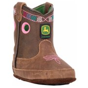 Johnny Popper Baby Girl's Crib Western Boots Brown Leather 4 Toddler M