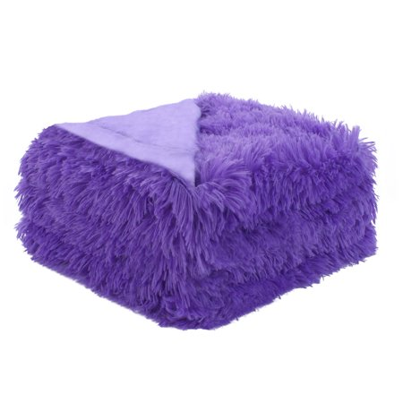 Unique Bargains Soft Decorative Long Shaggy Faux Fur Twin/ Full/ Queen/ Throw Size Blanket Pink Faux Fur Throw