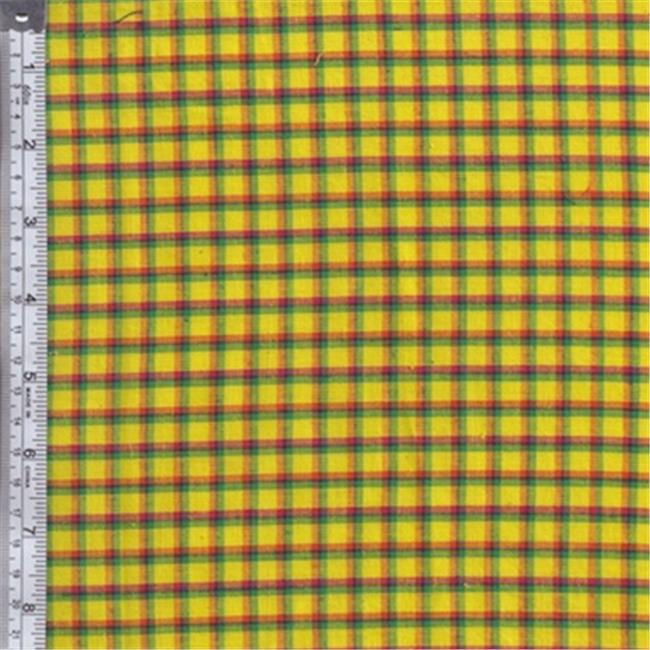 Textile Creations RW0140 Rustic Woven Fabric, Plaid Yellow, Orange And Fuchsia, 15 yd.