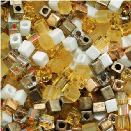 - Miyuki 4mm Glass Cube Beads Honey Butter Mix (20 Grams)