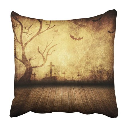 BPBOP Brown Party Halloween Retro Room Yellow Scary Vintage Stage Tree Dark Bat Label Pillowcase 18x18 inch