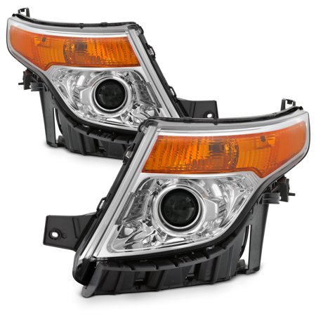 Halogen Type For 2011-2015 Ford Explorer Projector Chrome Headlights LH+RH Pair