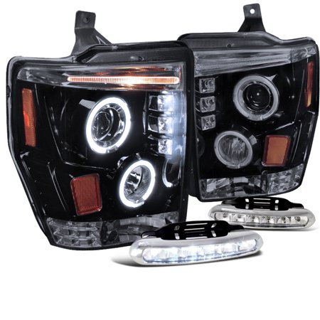 Spec-D Tuning For 2008-2010 Ford F250 F350 F450 Halo Glossy Black Projector Headlights + Led Bumper Fog (Left + Right) 2008 2009 2010