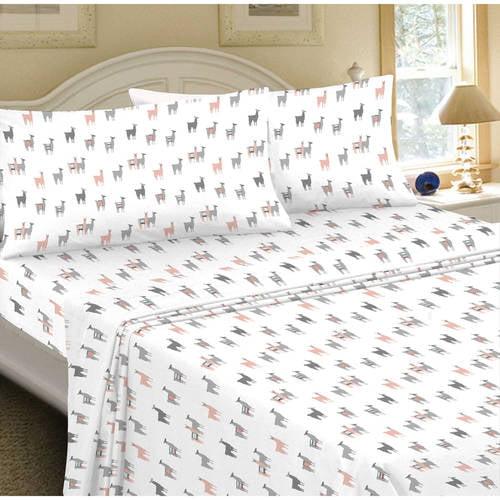 mainstays 180 thread count sheet set, llama pattern - walmart
