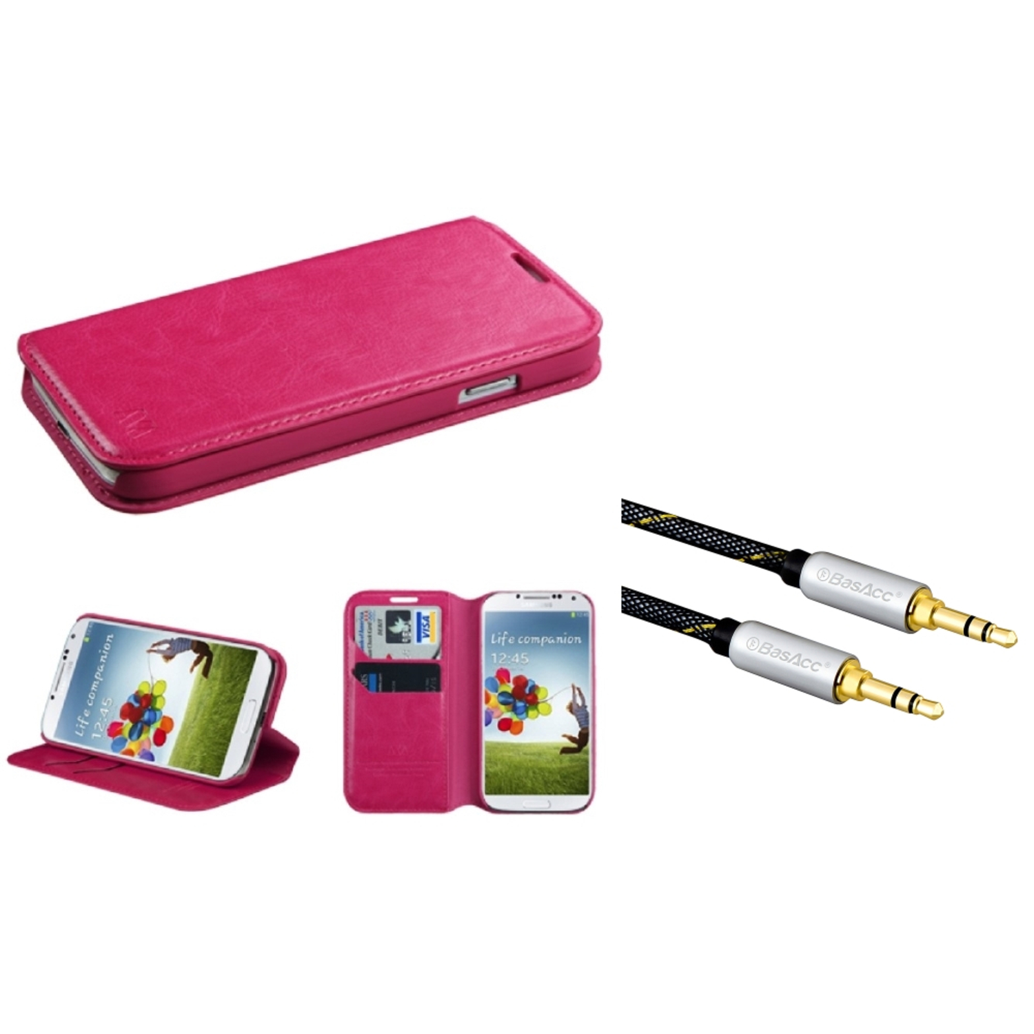 Insten Hot Pink MyJacket Wallet Case with Tray 563 For Samsung Galaxy S4 (+ 3.5mm Universal Audio Extension Cable)
