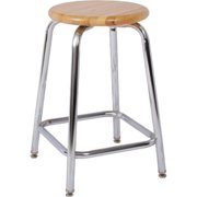 National School Lines QSW318A-HDW 18-2 8 inch Adjustable Chrome Stool, 13 inch Round Hardwood Seat
