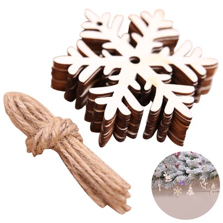 10PCS Christmas Hanging Ornament, Justdolife Wooden Slice DIY Xmas Tree Ornament Christmas Decoration Snowflake Bell Elk - Diy Christmas Tree Stand