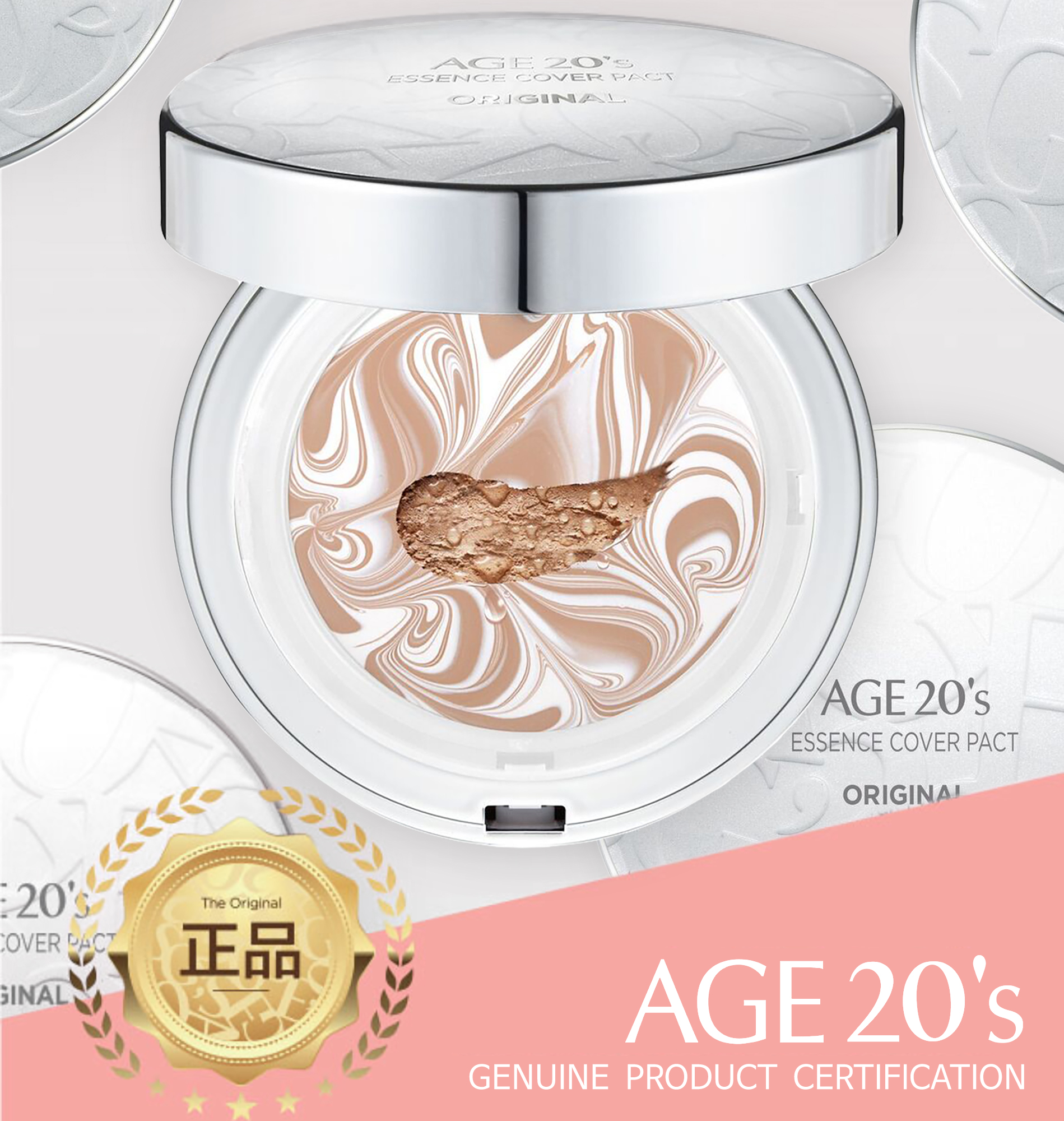 Age 20's Compact Foundation Premium Makeup, + 1 Extra Refill - Essence Cover Pact SPF50+ (Made in Korea) - White / Natural Beige (Color 23)