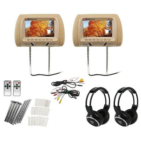 "Pair Rockville RHP7-BG 7"" Beige LCD Car Headrest Monitors + 2 Wireless"