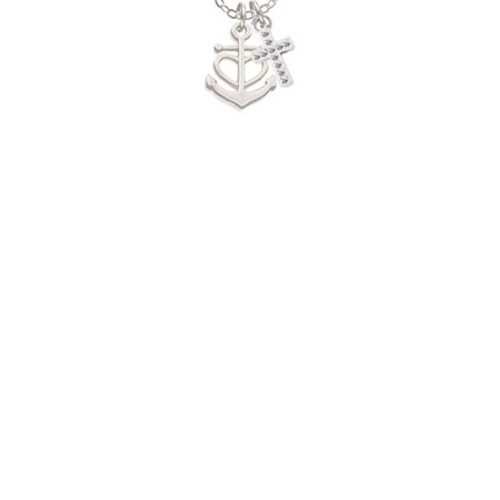 Anchor with Heart  - White Crystal Cross Sophia Necklace, 18
