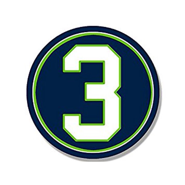 Round 3 Russell Wilson Seahawks Colors Sticker Decal Seattle Football Number 3 Size 4 X 4 Inch Walmart Com Walmart Com