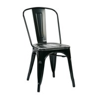 Bristow Metal Chair with Vintage Wood Seat, 2 Pack