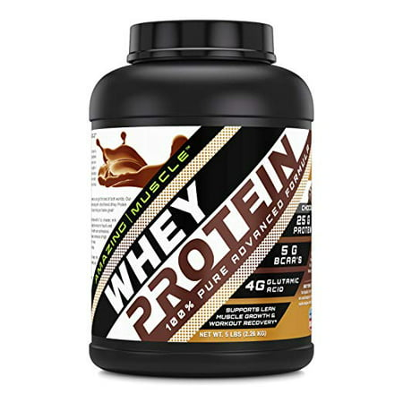 Amazing Muscle Whey Protein (Isolate & Concentrate - Chocolate Flavor - 5 (Best Muscle Pharm Combat Flavor)
