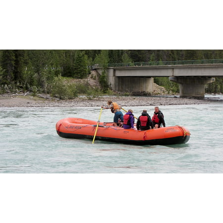 Canvas Print People Cruise Rapids Adventurous River Rubber Boat Stretched Canvas 10 x