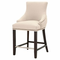 "Maklaine 26"" Counter Stool in Beige and Espresso"