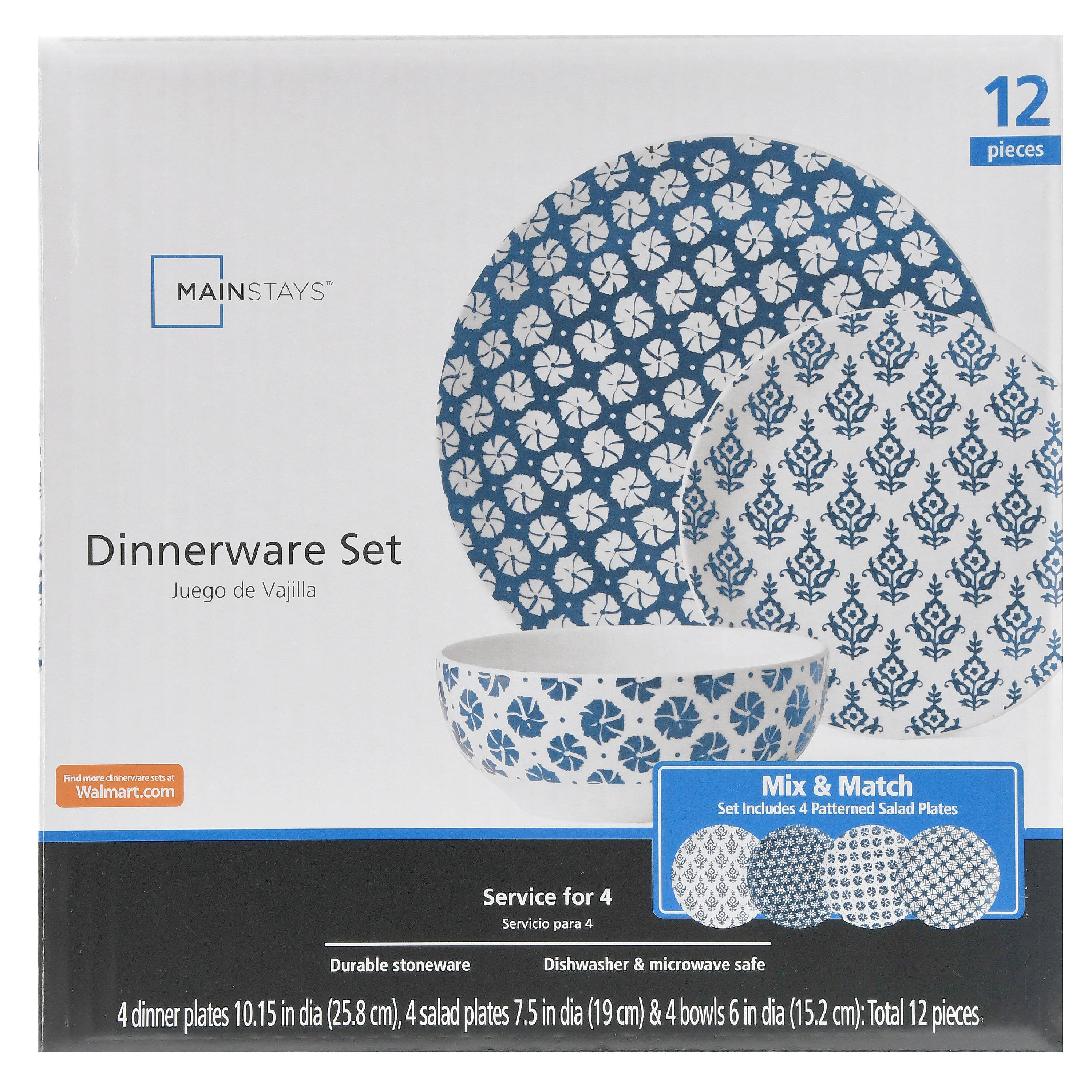Mainstays 12 piece Stoneware Dinnerware Set, Navy Print