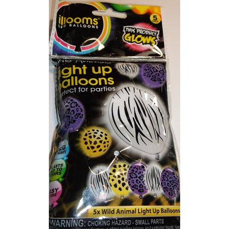 wild Animal Print LED Balloons 5 Ct Black Zebra, Wild animals light up Balloons By illooms
