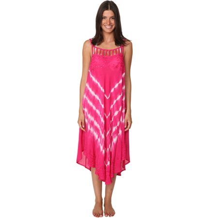 Tie Dye Sequin Handkerchief Hem Dress Beachwear Casual Cover Up (Dress With Handkerchief Hem)