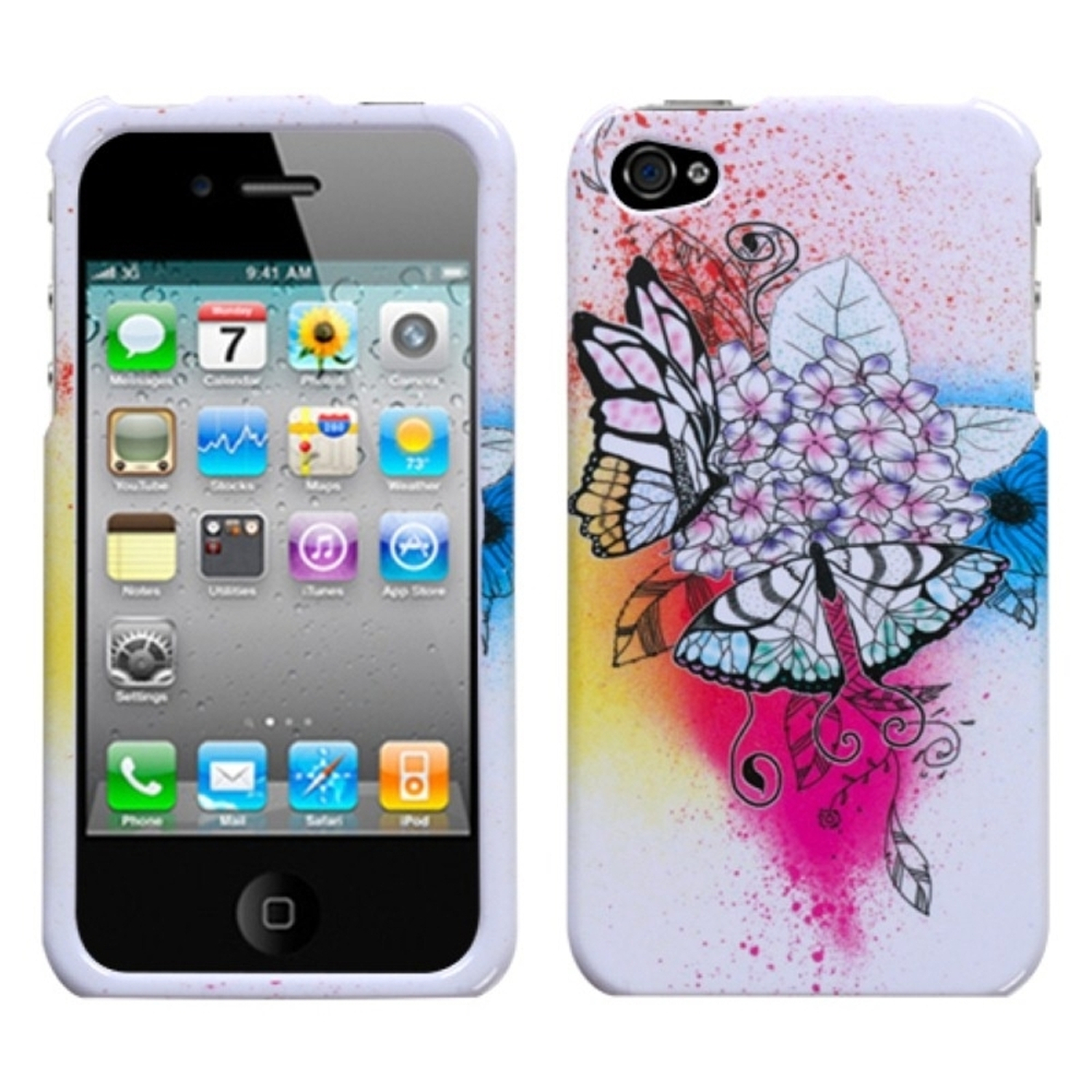 Insten Butterfly Paradise Case For iPhone 4 4S