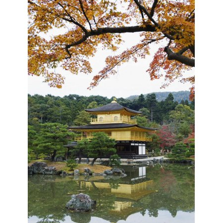 Autumn Colour Leaves, Golden Temple, Kinkaku Ji (Kinkakuji), Dating from 1397, Kyoto, Japan, Asia Print Wall Art By Christian Kober