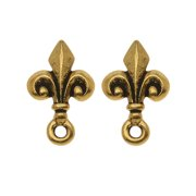 22K Gold Plated Pewter Stud Post Earrings Fleur de Lis
