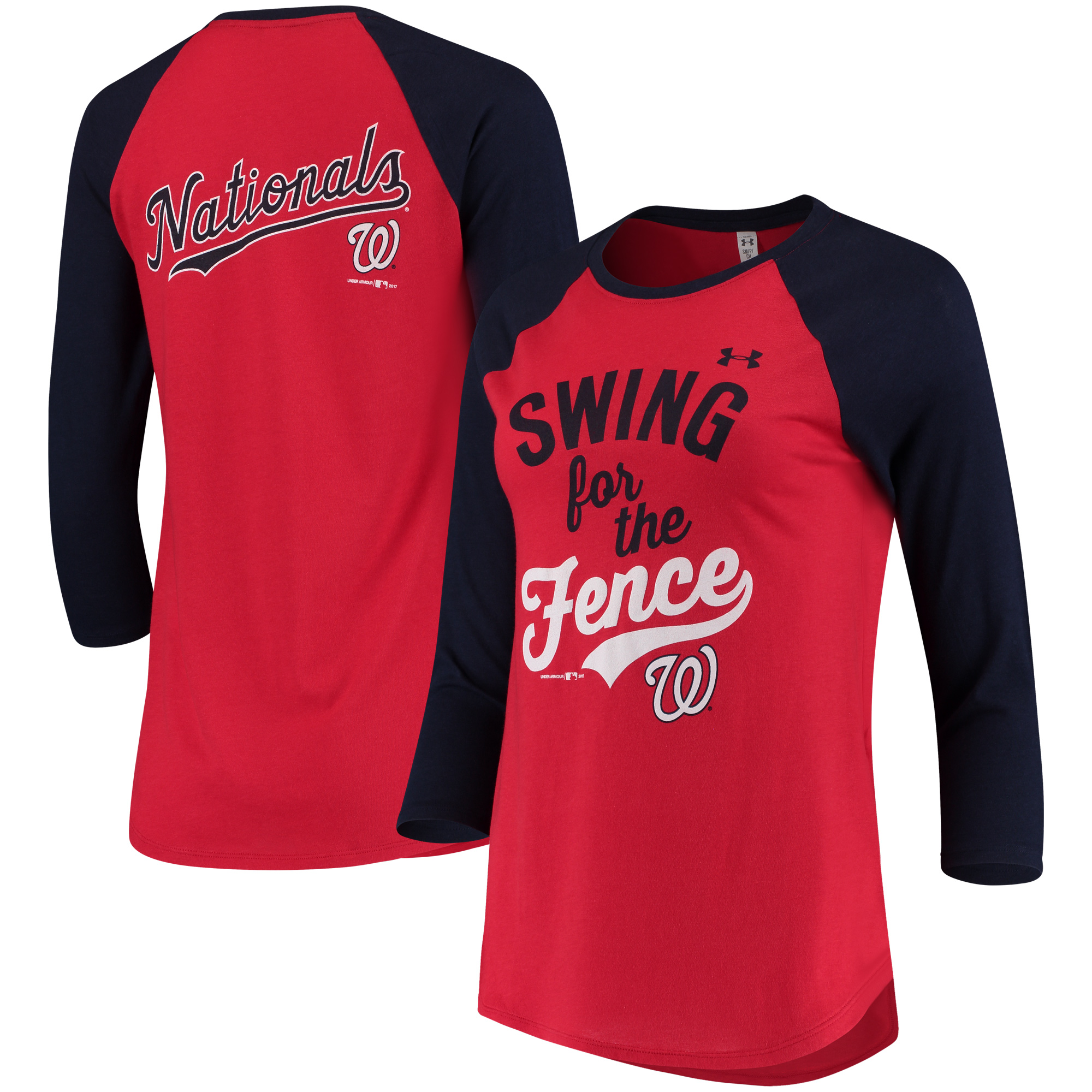 Washington Nationals Under Armour Women's Baseball 3/4-Sleeve T-Shirt - Red