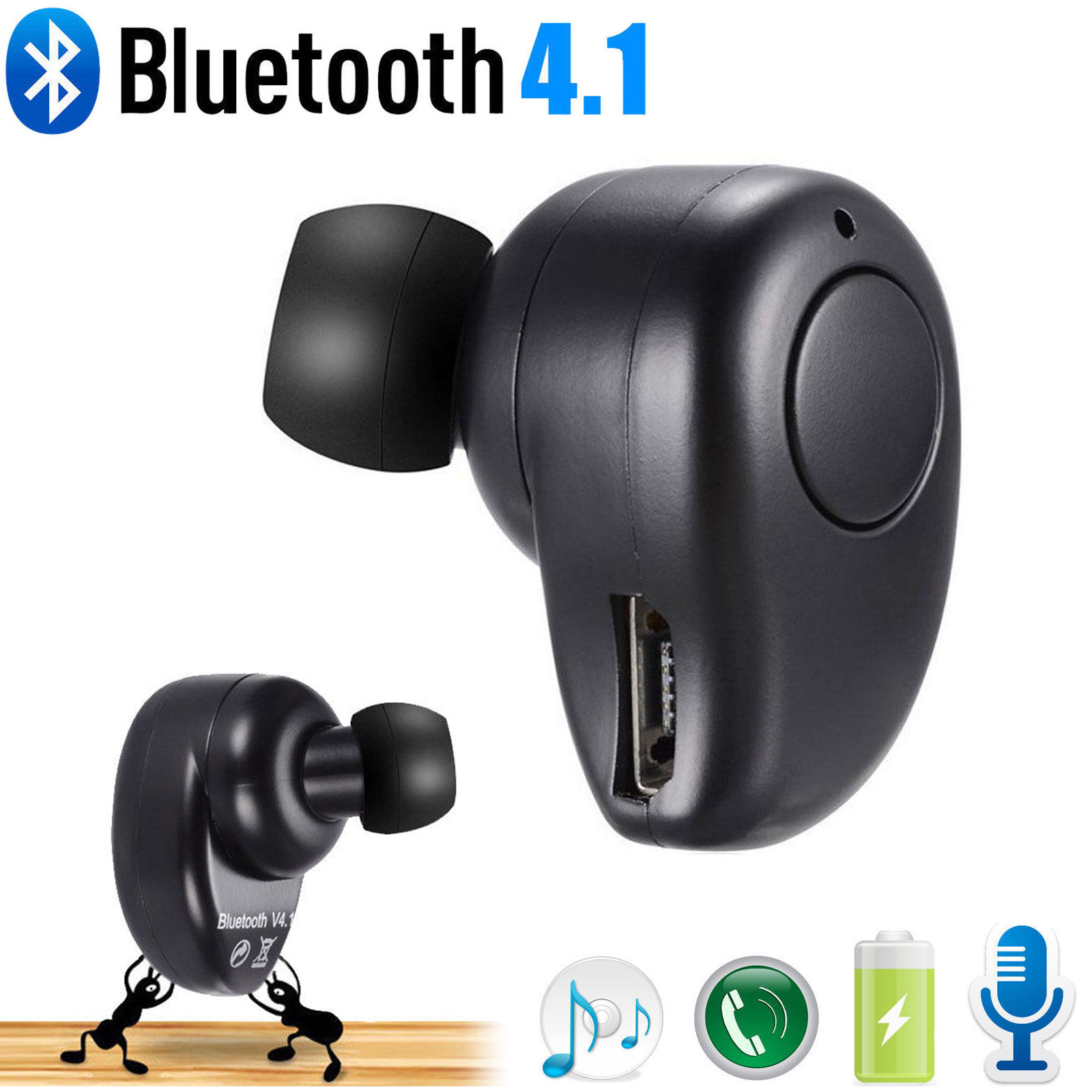 Wireless Bluetooth Earbud, Ultra Mini Invisible Single Earset, In-Ear Secret Spy Tiny Hidden Earphone with Microphone